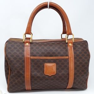 Auth Celine Macadam Boston Bag Satchel